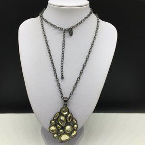 Lia Sophia Pale Yellow Rhinestone Pendant Necklace
